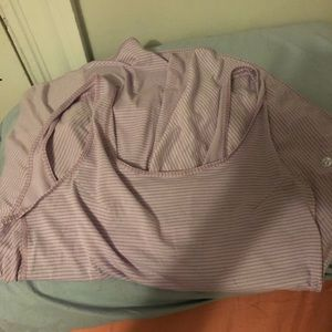 Lavender striped lululemon workout tank large